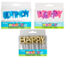 Happy Birthday Letter Candles - Blue, Gold or Pink - HBDCNDLEB-NMJ