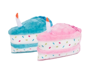 "Sprinkle Birthday Cake Slice 7"" with Squeaker - Pink or Blue"