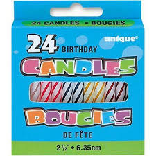 24 Count Rainbow Stick Birthday Candle